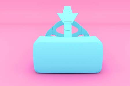 Painted Blue VR Goggles Headseton pink background. Front view. Modern Tech Design in Minimal Style. Trendy Vivid and Pastel color and duotone effect. 3D render Illustration. Stock Photo