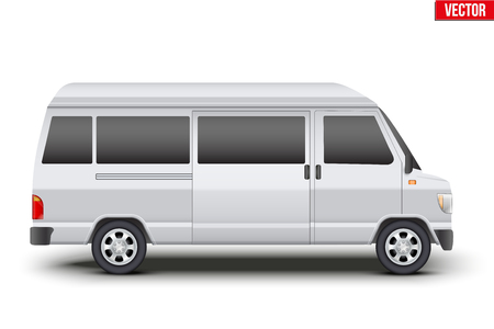 Original classic transfer service white minibus. Cargo and service van transportation. Editable Vector illustration Isolated on white background.