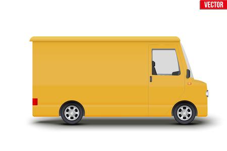 Original vintage postal yellow van. Cargo and delivery retro minibus transportation. Editable Vector illustration Isolated on white background. Illustration