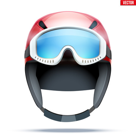 Classic Ski helmet with goggles. Front view. Winter mountain vacation. Vector isolated on white background Standard-Bild - 127651673