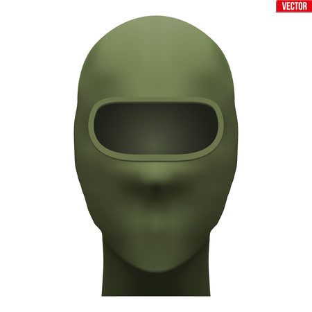 Balaclava SKI mask. Equipment for special forces or hunter. Green Khaki color. Front view. Vector illustration Isolated on white background. Standard-Bild - 127651674