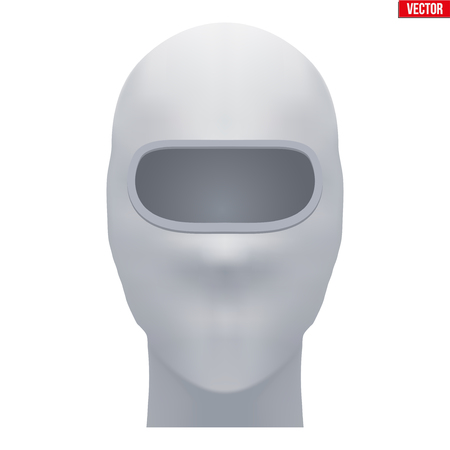 Balaclava SKI mask. Equipment for winter sport and recreation activity. White color. Front view. Vector illustration Isolated on white background. Standard-Bild - 127651675