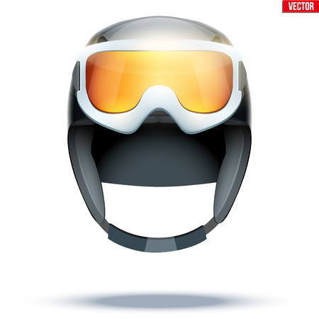 Classic Ski helmet with snowboard goggles. Front view. Winter mountain vacation. Vector isolated on white background Standard-Bild - 127572739