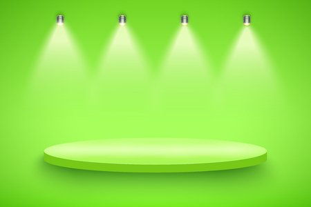Light box with green presentation circle platform on light backdrop with four spotlights. Editable Background Vector illustration.