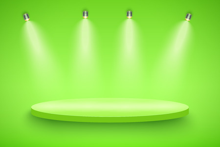 Light box with green presentation circle platform on light backdrop with four spotlights. Editable Background Vector illustration.