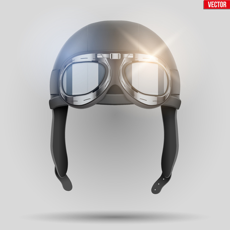 Retro aviator pilot leather helmet with goggles. Aviation History Symbol. Vintage style. Vector Illustration. Standard-Bild - 127434802