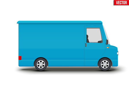 Original vintage blue service van. Cargo and delivery retro minibus transportation. Editable Vector illustration Isolated on white background.