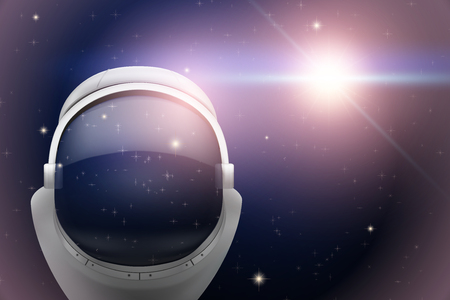 Background of Space with astronaut helmet. The reflection of space in the helmet visor. Abstract scientific background. Editable Vector Illustration.