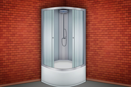 Interior of Shower corner cabine and Red brick wall bathroom. Vector Illustration. Standard-Bild - 127249132
