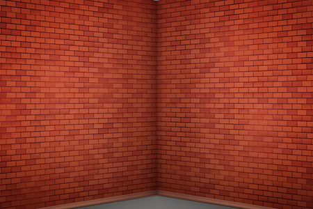Interior of red brick wall corner of the room. Background of loft and gallery and showroom or cafe. Vector Illustration.