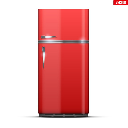Modern Fridge Freezer refrigerator in red color. Household tech and appliances. Vector Illustration isolated on white background. Standard-Bild - 127249134