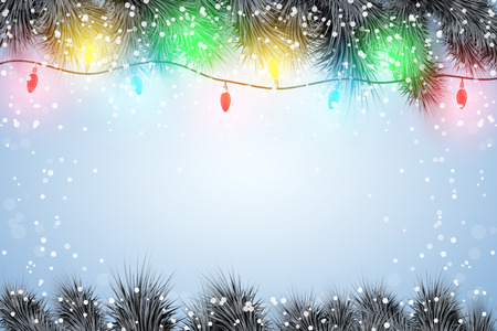 Christmas snow background with black spruce fir tree and Garland Lights Decorations. Trendy color of season. Winter Holiday xmas mockup and backdrop. Vector Illustration. Standard-Bild - 127227071