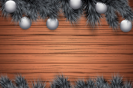 Christmas snow background with black spruce fir tree and glass balls. Trendy color of season. Winter Holiday xmas mockup and backdrop. Vector Illustration. Standard-Bild - 127227072