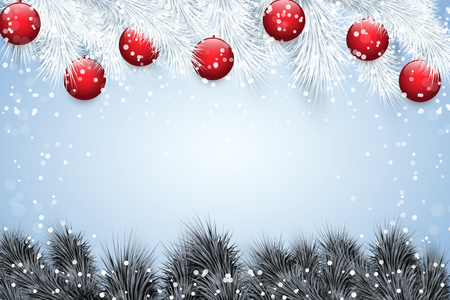 Christmas snow background with black spruce fir tree and glass balls. Trendy color of season. Winter Holiday xmas mockup and backdrop. Vector Illustration. Standard-Bild - 127227074