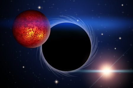 Background of Space with Black Hole and Mars. Science Matters Astronomy. Abstract scientific background. Editable Vector Illustration.