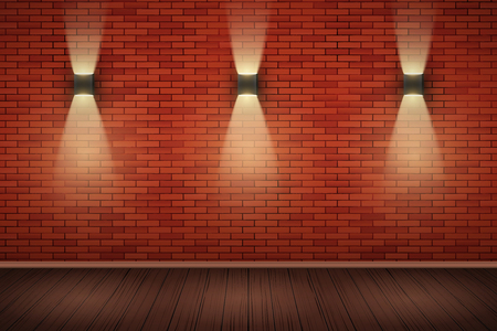 Interior of red brick wall with sconce lamps and wooden floor. Vintage loft room and fashion interior. Vector Illustration Standard-Bild - 127069736