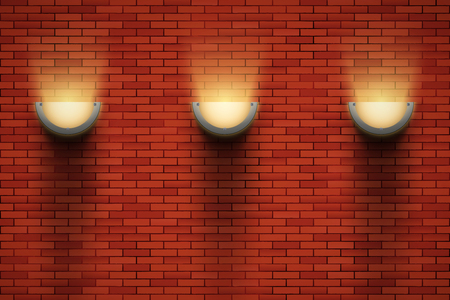 Interior of red brick wall with sconce lamps on wall. Vintage loft room and fashion interior. Vector Illustration Standard-Bild - 126897288