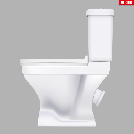 Ceramic toilet classic model. Side view. Equipment for bathroom and WC. Vector Illustration isolated on background. Standard-Bild - 126897290