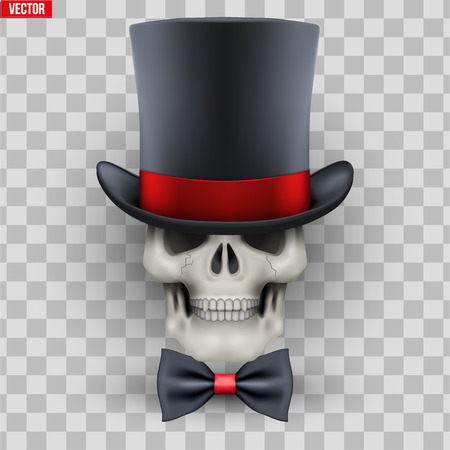 Human skull with cylinder hat and bow tie. Gentleman symbol. Vector Illustration on isolated transparent background Standard-Bild - 126364946