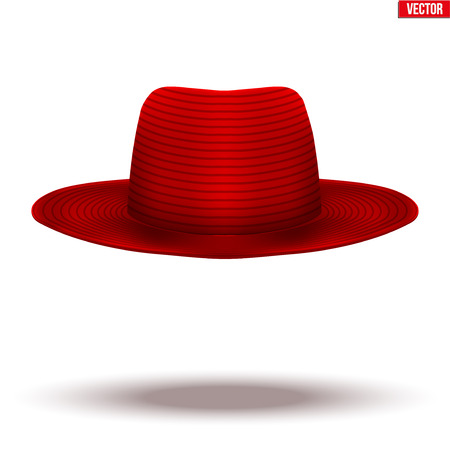 Mary Poppins red hat on a white background. Symbol of nanny and babysitter. Standard-Bild - 126364947
