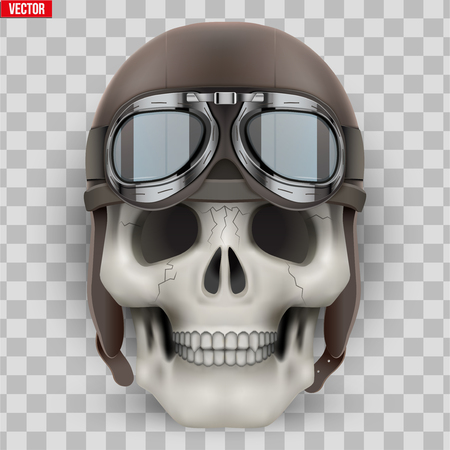 Human skull with retro aviator or biker helmet. Vector Illustration on isolated transparent background Standard-Bild - 126364949