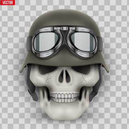Human skulls with German Army helmet. Vector Illustration isolated on transparent background