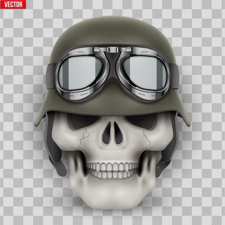 Menschliche Schädel mit Bundeswehrhelm. Vektor-Illustration auf transparentem Hintergrund isoliert