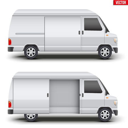 Set of Original classic van white minibus with door open. Cargo and service van transportation. Editable Vector illustration Isolated on white background.