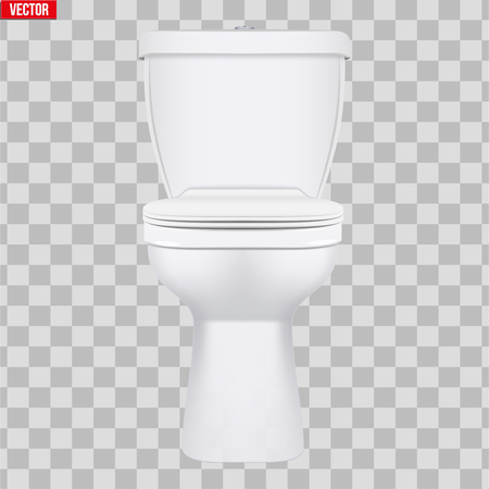 Ceramic toilet classic model. Front view. Equipment for bathroom and WC. Vector Illustration isolated on transparent background. Standard-Bild - 126364950
