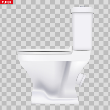 Ceramic toilet classic model. Side view. Equipment for bathroom and WC. Vector Illustration isolated on transparent background.