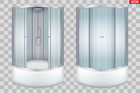 Set of Modern corner shower cabin. Glass Door and angular installation. Opened and Closed doors. Sample Vector Illustration isolated on transparent background.