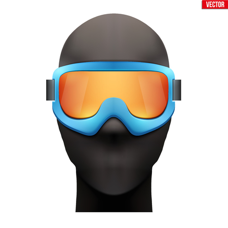 Balaclava SKI mask with goggles. Equipment for ski and snowboarding. Front view. Vector illustration Isolated on white background. Standard-Bild - 126364953