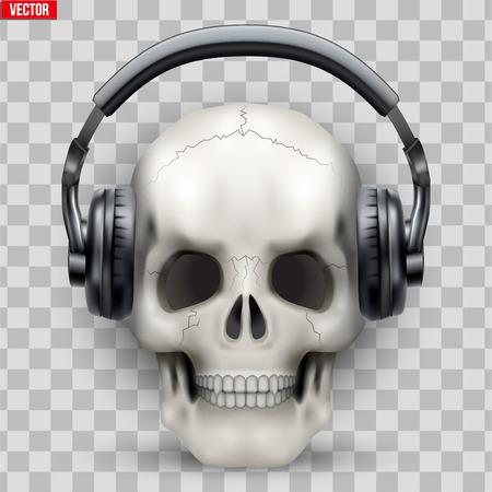 Human Skull with headphones. Vector Illustration on isolated transparent background. Illustration