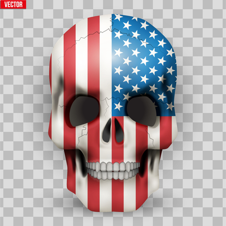 Skull with USA flag texture. Vector Illustration isolated on transparent background.