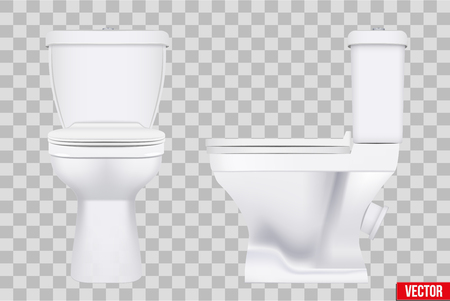 Ceramic toilet classic model set. Front and Side view. Equipment for bathroom and WC. Vector Illustration isolated on transparent background. Standard-Bild - 126193346