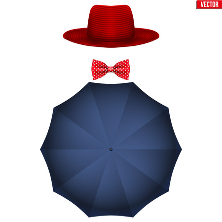 Mary Poppins equipment. Symbol of nanny and babysitter. Vector Illustration isolated on white background.