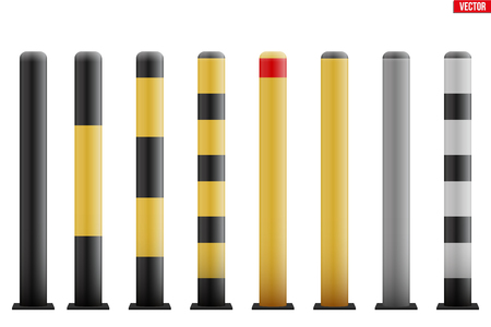 Urban street bollards isolated on white background. Stainless steel and painted in black and yellow. City construction architecture. Barrier for sidewalk and road. Vector Illustration Standard-Bild - 126146446