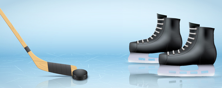 Banner Template of Ice Hockey with sticks and puck and Skating boots. Poster of Recreation Advertising and Announcement. Vector Illustration. Standard-Bild - 125603940