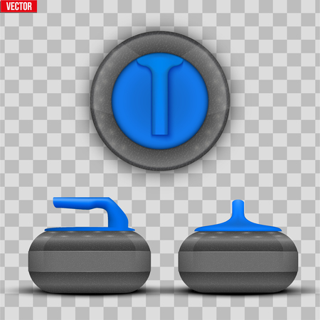 Background Curling stones. Equipment for teams sport game. Vector Illustration isolated on transparent background.