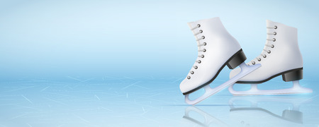 Banner Template Ice Poster Template of Ice Skating Rink with ice skate boots. Figure skating sport. Weekend Recreation Advertising and Announcement. Vector Illustration.