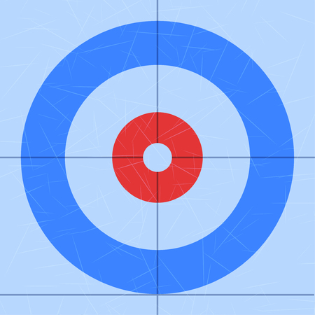 Background of Curling Sport arena. Technical scheme of top view. Vector Illustration isolated on white background.