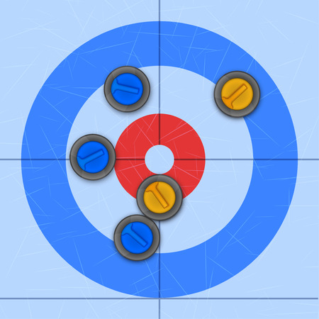 Background of Curling Sport arena. Stones on ice rink. Technical scheme of top view. Vector Illustration Standard-Bild - 125603944