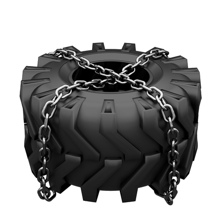 Workout symbol of Big Tractor wheel tire chains wrapped. Symbol of power and endurance. Sport Crossfit label. Top view. 3D render Illustration Isolated on white background.