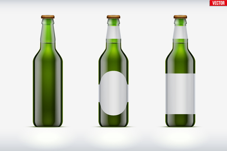 Mockup set of Craft beer bottle. Green glass. Individual and home brewery. Handcrafted beer. Vector Illustration