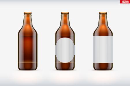 Set di mockup di bottiglia di birra artigianale. Vetro marrone. Birrificio individuale e casalingo. Birra artigianale. illustrazione vettoriale Vettoriali