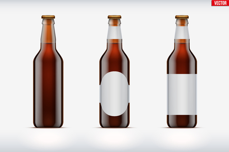 Mockup set of Craft beer bottle. Brown glass. Individual and home brewery. Handcrafted beer. Vector Illustration