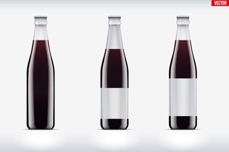 Mockup set of Cola glass bottle. Container for beverage soda and cider or cola. Vector Illustration