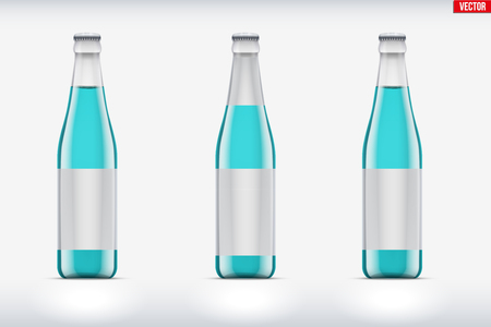 Mockup set of transparent glass bottle with tonic or lemonade. Vector Illustration isolated on background. Illustration