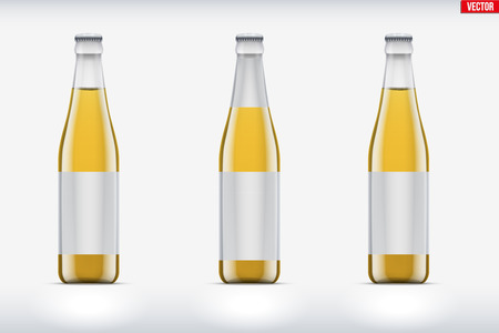Mockup set of transparent glass bottle with tonic or lemonade. Vector Illustration isolated on background. Ilustrace