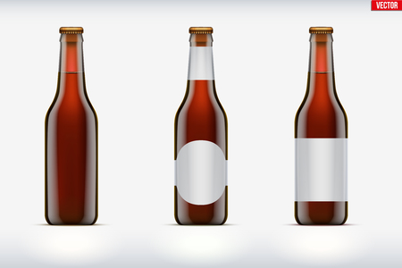 Mockup set of Craft beer bottle. Brown amber glass. Mock-up design for Individual and home brewery. Handcrafted beer. Vector Illustration isolated on background Stock Illustratie